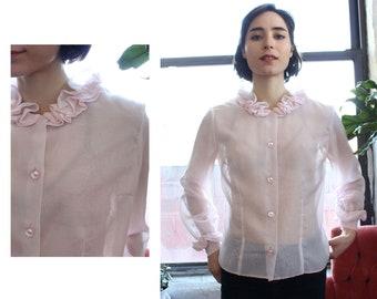 b48e7028e4bc82 Cotton Candy Sheer Top S/M • Vintage Sheer Blouse • 60s Blouse • Vintage  Ruffle Blouse • Vintage Boxy Blouse • Vintage Pink Shirt • T1384