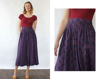 c8ad85b64f Indigo Paisley Pocket Skirt XS/S • Vintage Pleated Skirt • Paisley Skirt •  80s Midi Skirt • Vintage Full Skirt • Vintage Midi Skirt • SK1530