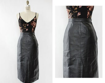 Black Leather Skirt XS S • Leather Midi Skirt • Vintage Leather Skirt •  High Waisted Leather Skirt • Sexy Leather Skirt • SK1171 a07c41800