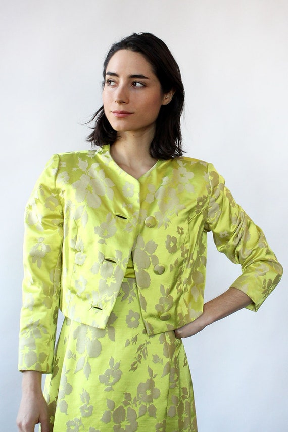 Chartreuse Silk Brocade Ensemble S-S/M • 60s Two … - image 6