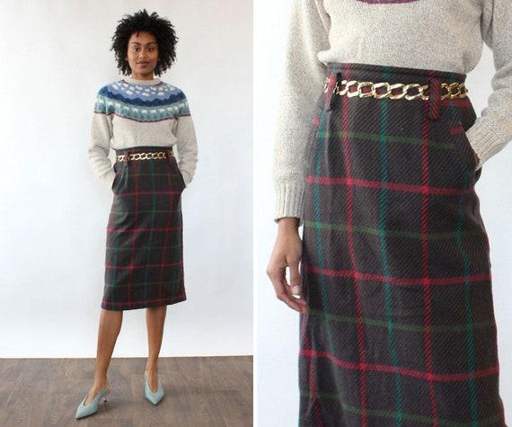 Jeweltone Plaid Pencil Skirt M • 80s Skirt • Vinta