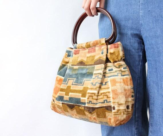 Earthtone Carpet Bag • 70s Handbag • Vintage Carpe