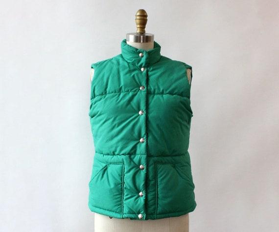 LL Bean Green Down Vest XS/S • 80s Vest • Vintage