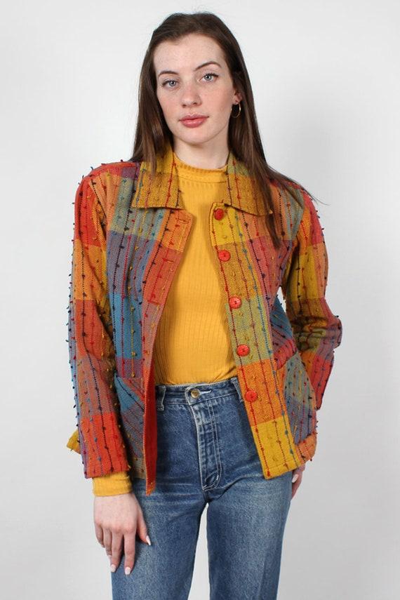 Rainbow Shag Jacket XS-M • 90s Jacket • Vintage R… - image 2