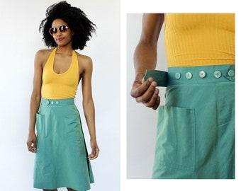 Button Wrap Skirt S/M • Vintage Wrap Skirt • Adjustable Waist Skirt • A-line Skirt • 1960s Iridescent Skirt • 60s Wrap Skirt • SK155