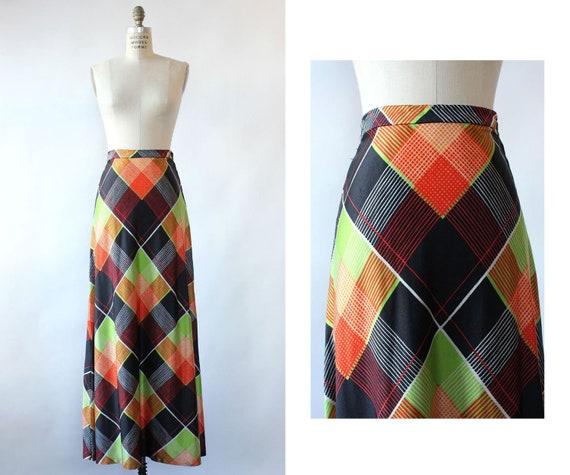 Electric Plaid Maxi Skirt M • 70s Maxi Skirt • Vi… - image 1