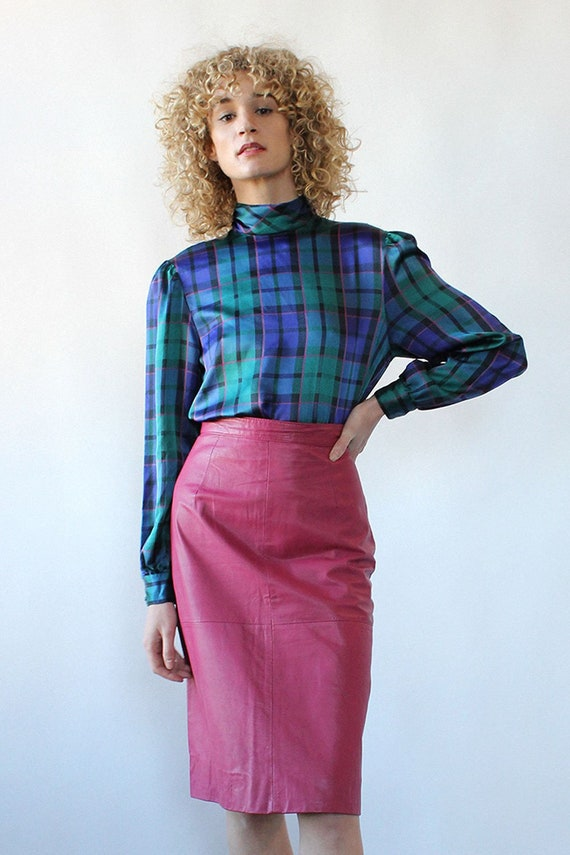 Pretty in Pink Leather Skirt M • 80s Skirt • Vinta