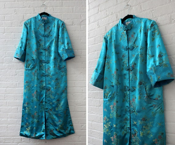 Teal Satin Embroidered Duster S-M/L • 90s Duster •
