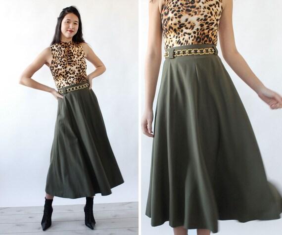 Olive Green Flare Skirt S • 80s Skirt • Green Vint