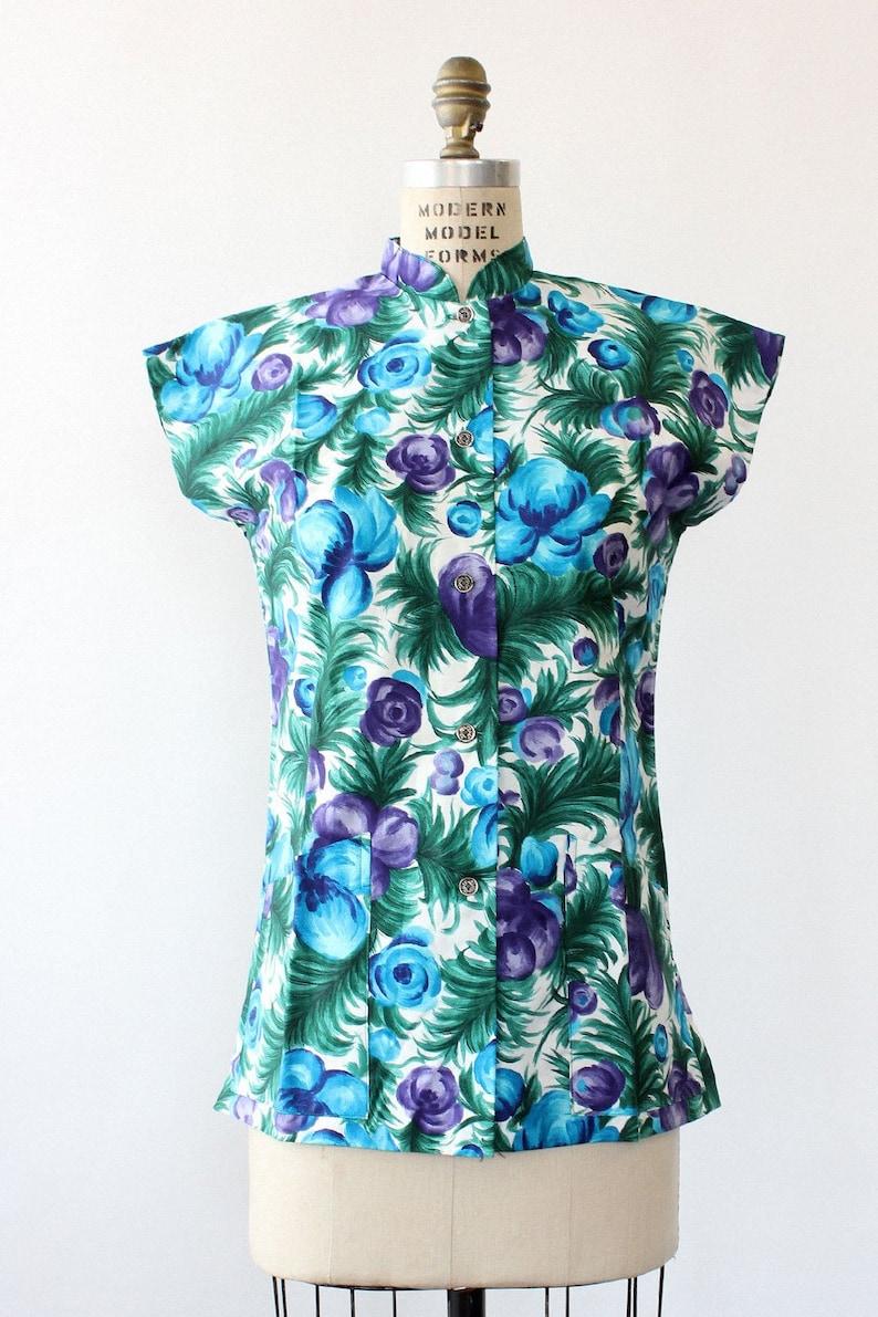 Hawaiian Moody Tunic S \u2022 70s Floral Top \u2022 Vintage Floral Shirt \u2022 Vintage Hawaiian Shirt \u2022 70s Hawaii Shirt \u2022 Vintage Cotton Top \u2022 T1421