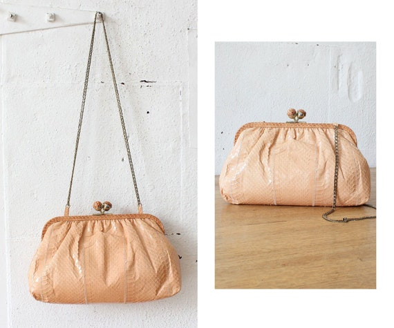 Blush Snakeskin Kisslock Purse • 70s Purse • Snake
