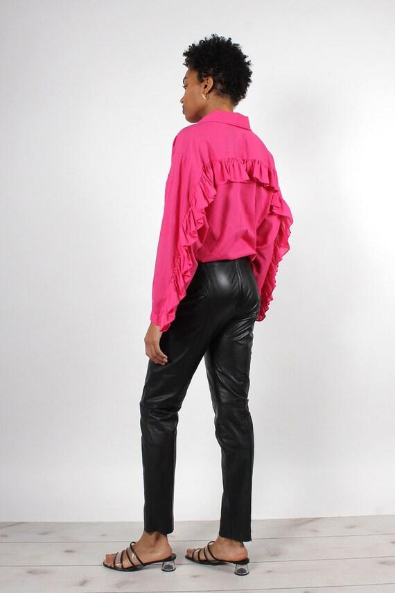 Black Leather Zip-Back Pants S/M • 90s Pants • Bl… - image 5