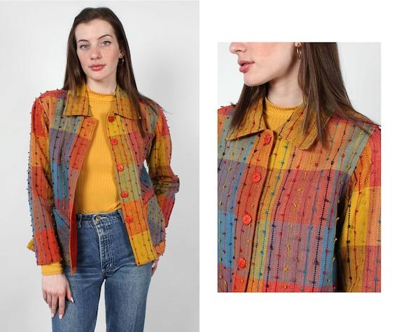 Rainbow Shag Jacket XS-M • 90s Jacket • Vintage Ra