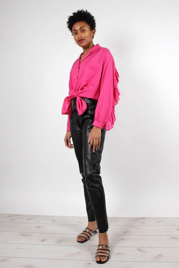 Black Leather Zip-Back Pants S/M • 90s Pants • Bl… - image 4