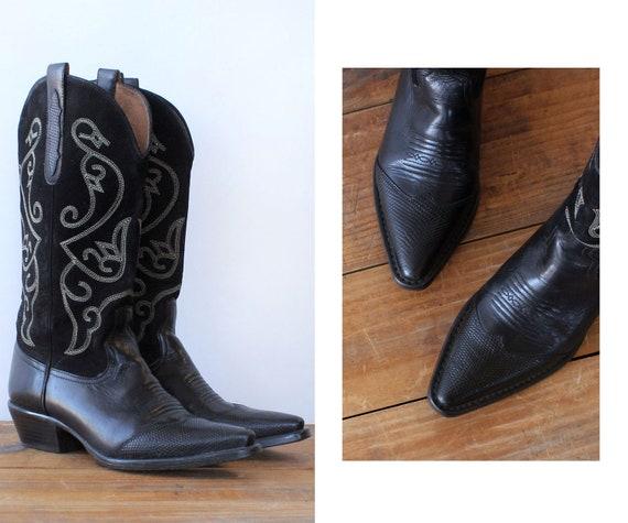 Noir Stitch Cowboy Boots 7.5 • 80s Cowboy Boots •