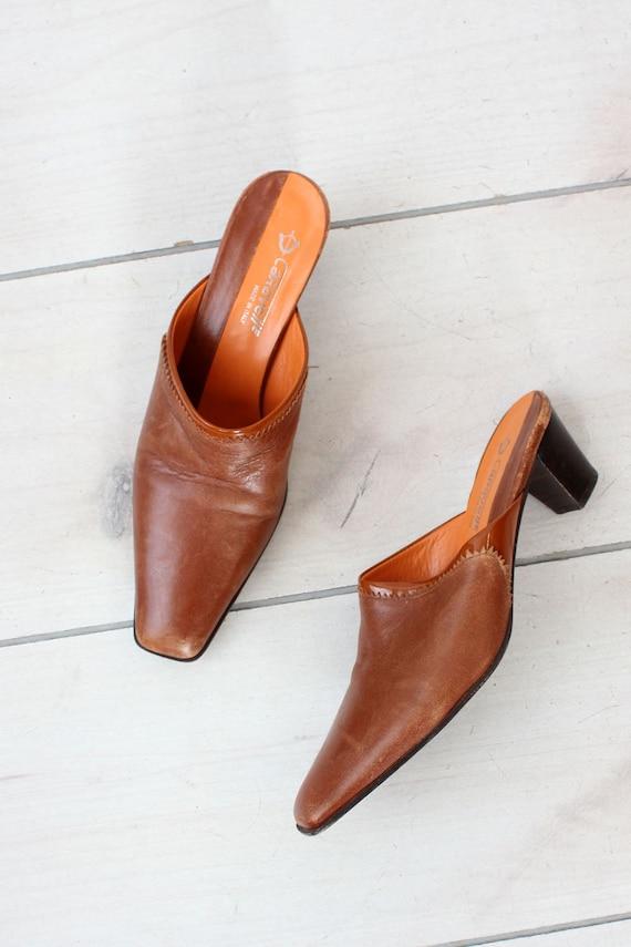 Mahogany Leather Mules 7 • 90s Mules • Vintage Mu… - image 2