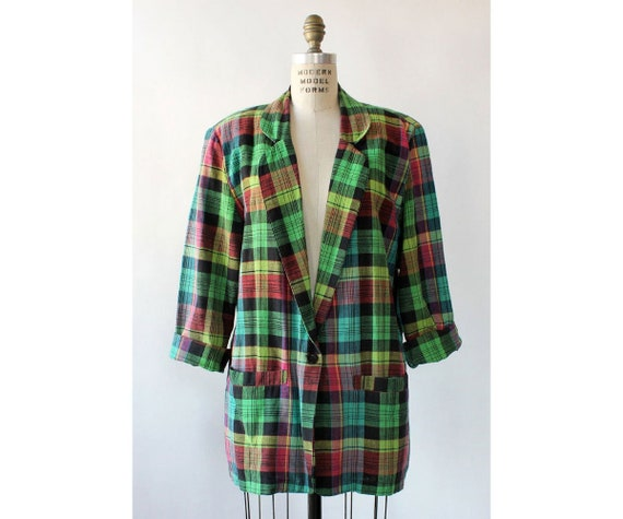 Angelique Green Plaid Blazer M/L • 90s Blazer • Vi