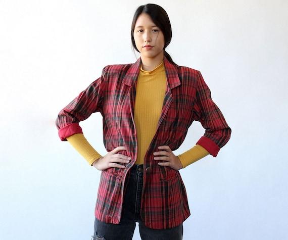 Cranberry Plaid Long Blazer S • 90s Blazer • Vinta