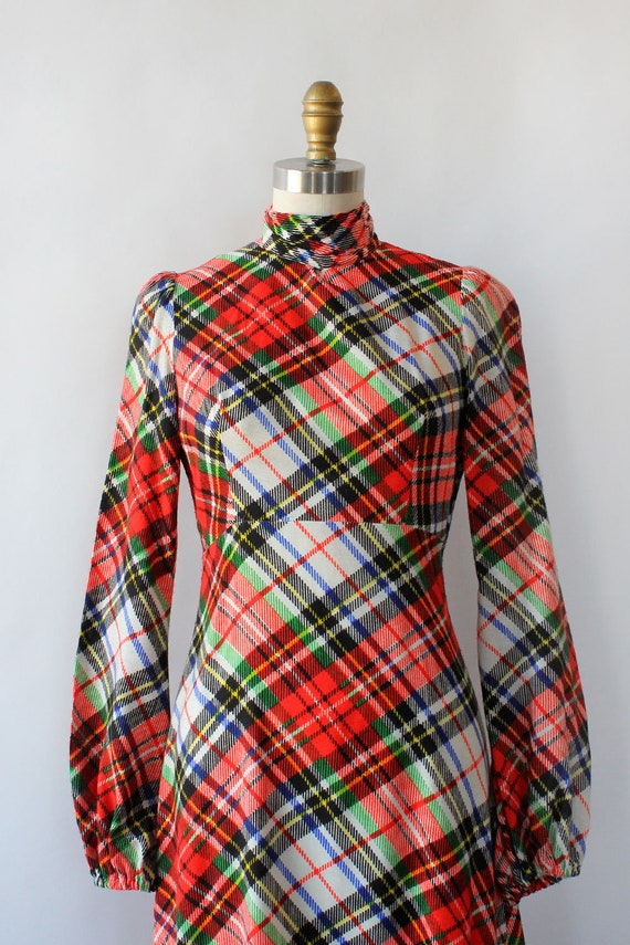 Clobber Of London Plaid Pussybow Dress XS • 70s D… - image 8