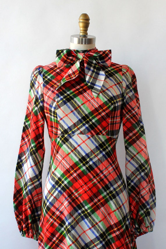 Clobber Of London Plaid Pussybow Dress XS • 70s D… - image 4
