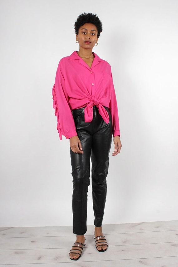 Black Leather Zip-Back Pants S/M • 90s Pants • Bl… - image 3