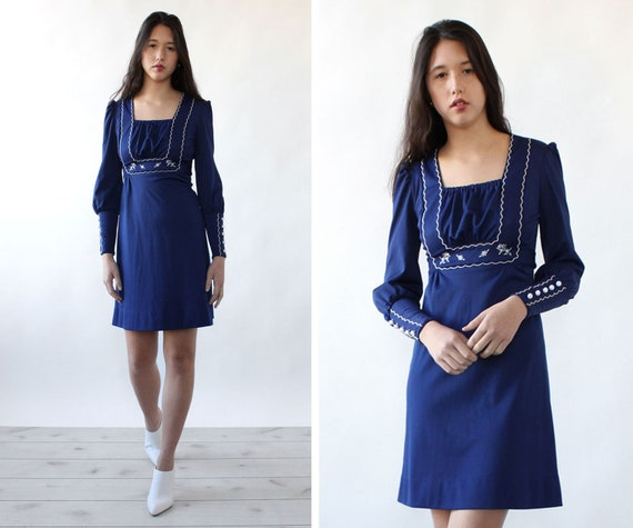 Navy Veruca Salt Dress XS/S • 70s Dress • Blue Vin