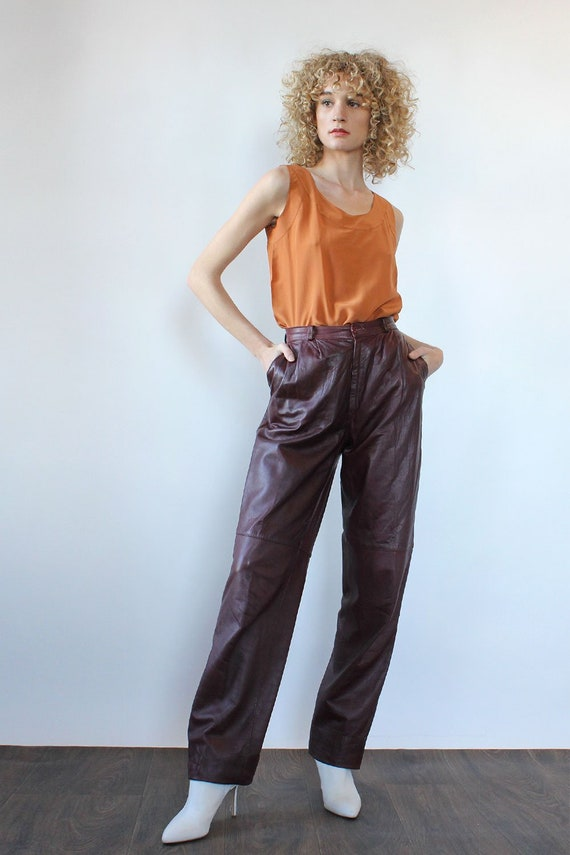 Merlot Leather Slacks M • 80s Leather Pants • Red