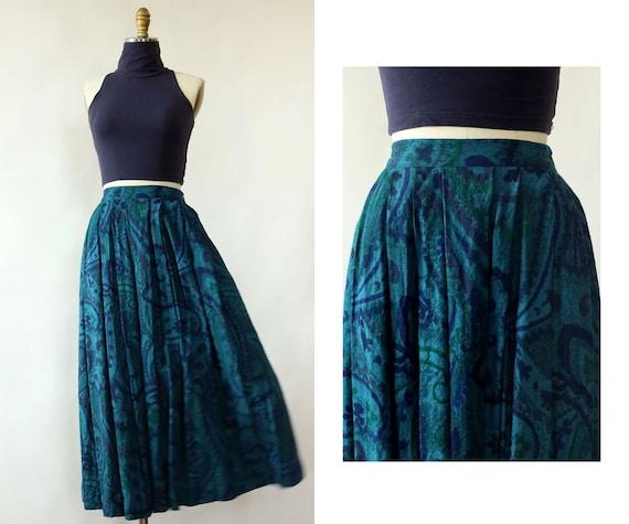 Perry Ellis Abstract Paisley Midi XS • 80s Skirt •
