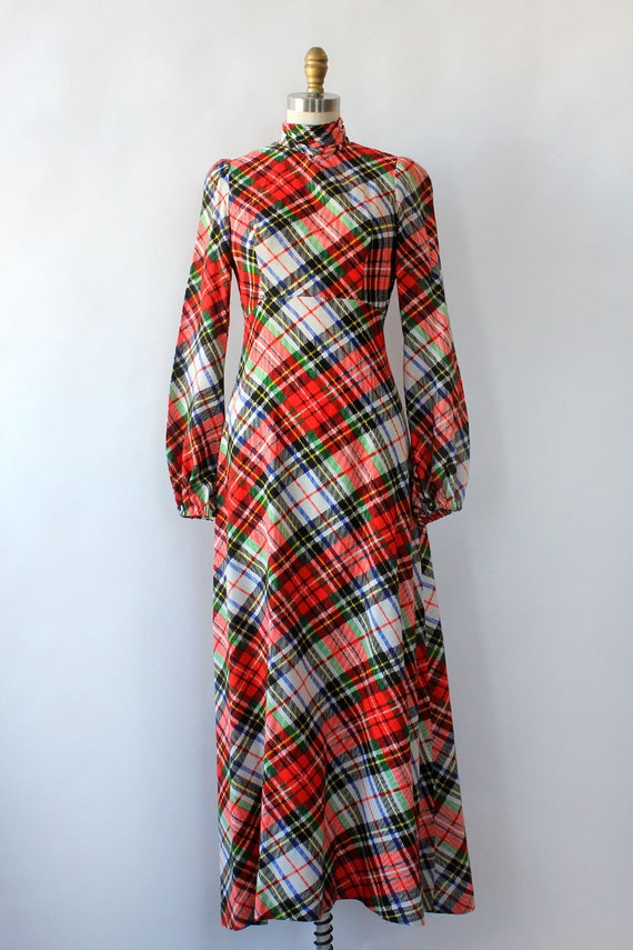 Clobber Of London Plaid Pussybow Dress XS • 70s D… - image 7