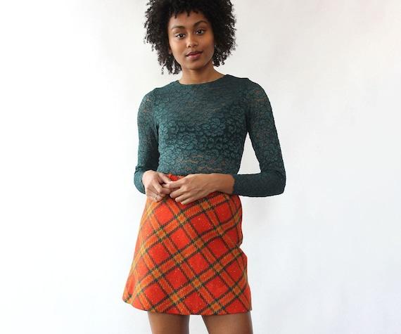 Tangerine Plaid Mini Skirt XS • 60s Mini Skirt • V