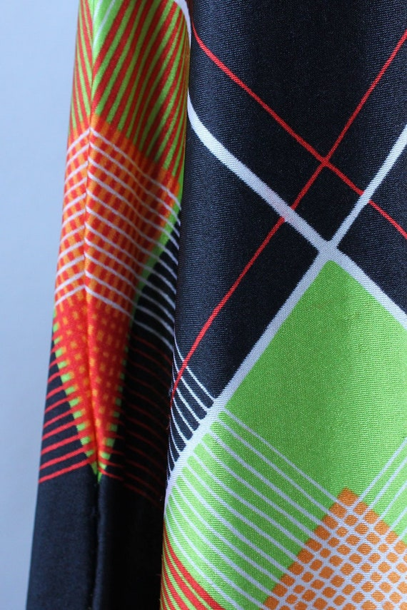 Electric Plaid Maxi Skirt M • 70s Maxi Skirt • Vi… - image 5