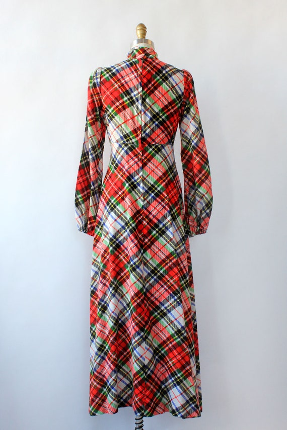 Clobber Of London Plaid Pussybow Dress XS • 70s D… - image 6