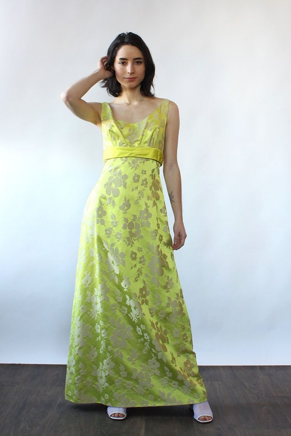 Chartreuse Silk Brocade Ensemble S-S/M • 60s Two … - image 8