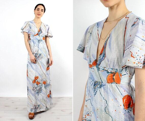 Ice Blue Metallic Maxi Dress XS • 70s Dress • Vint