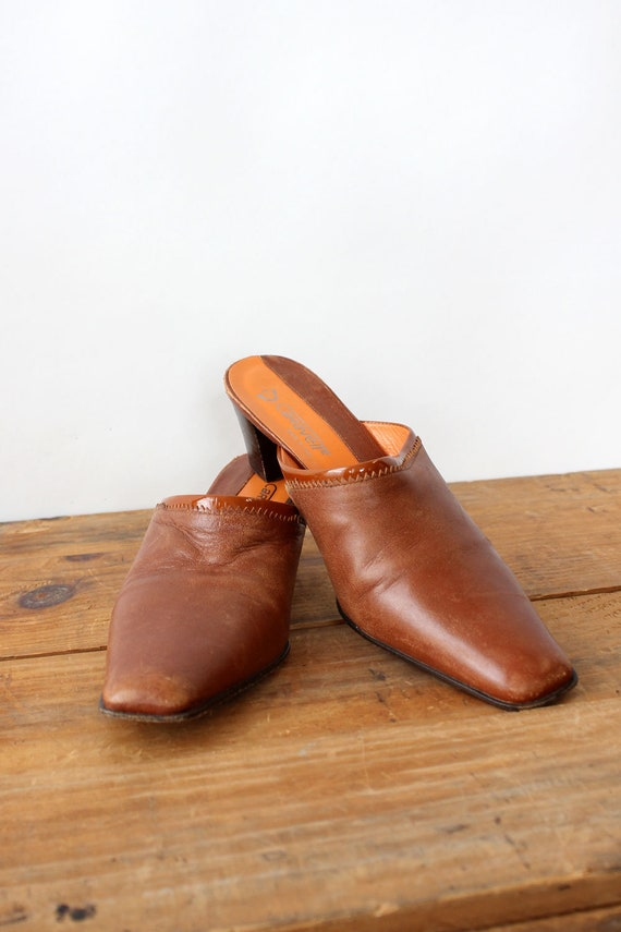 Mahogany Leather Mules 7 • 90s Mules • Vintage Mu… - image 3