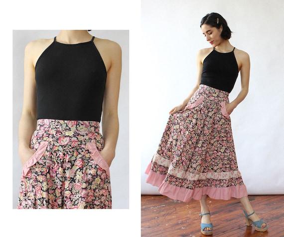 Ruffled Cotton Prairie Skirt XS • 70s Maxi Skirt •