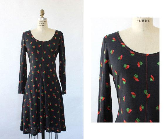 Flowerbox 70s Knit Dress M • 70s Boho Dress • 70s