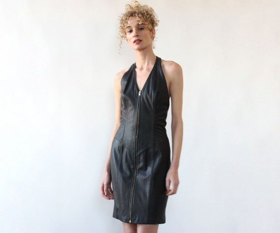 Buttery Leather Zip-up Dress M • 80s Leather Dress