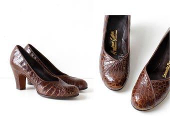 40s Heels 6 • Andrew Geller Shoes • Crocodile Heels • Vintage Pumps • Brown Leather Heels • 40s Shoes • Alligator Shoes   SH481