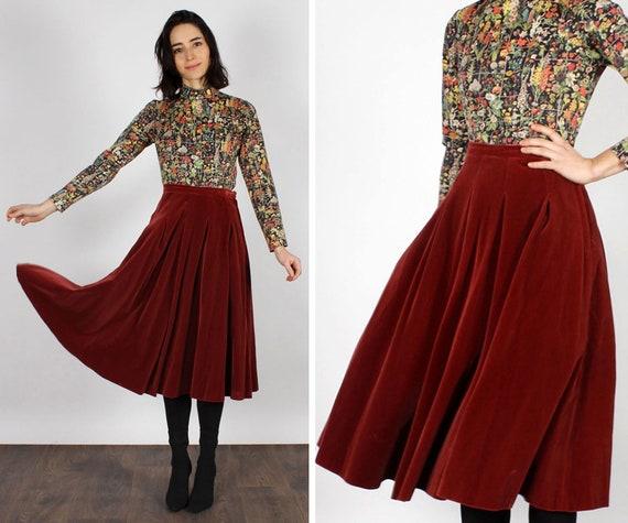 Mulberry Velvet Swing Skirt S • 70s Skirt • Vintag