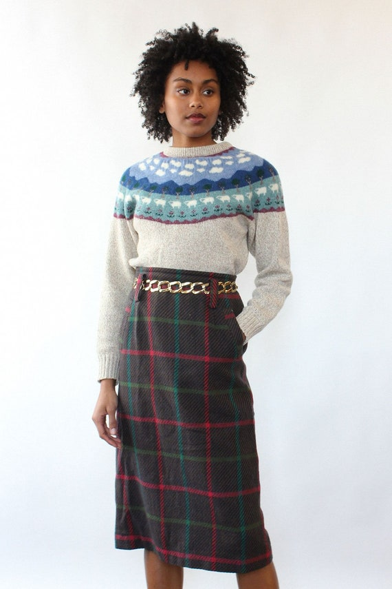 Jeweltone Plaid Pencil Skirt M • 80s Skirt • Vinta