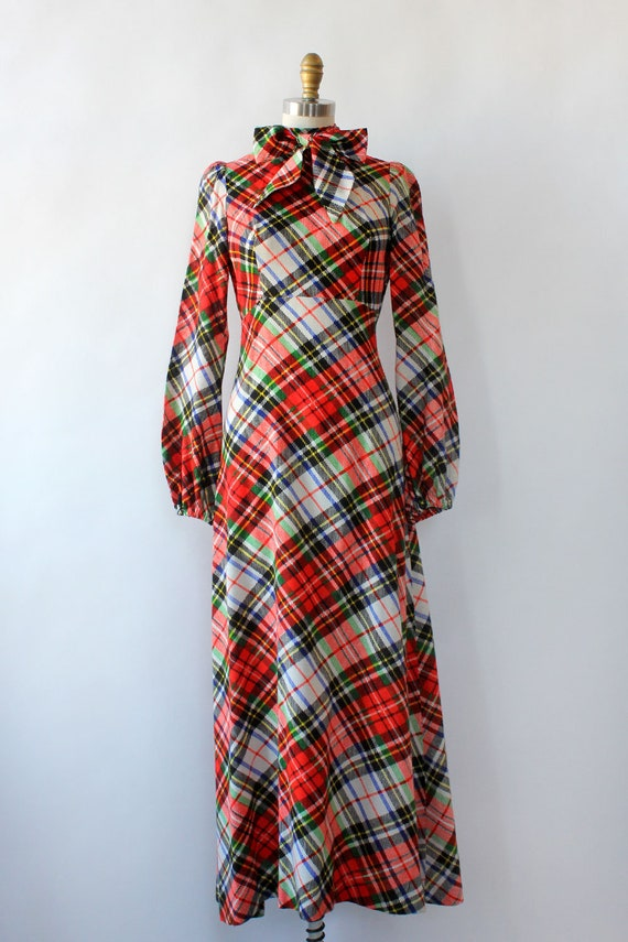 Clobber Of London Plaid Pussybow Dress XS • 70s D… - image 3