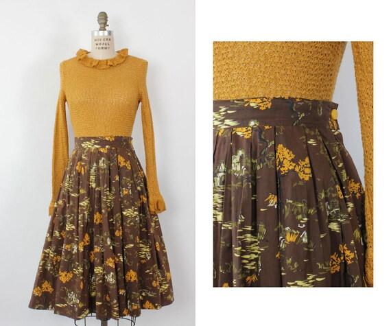 Japanese Garden Full Cotton Skirt M • 60s Skirt •