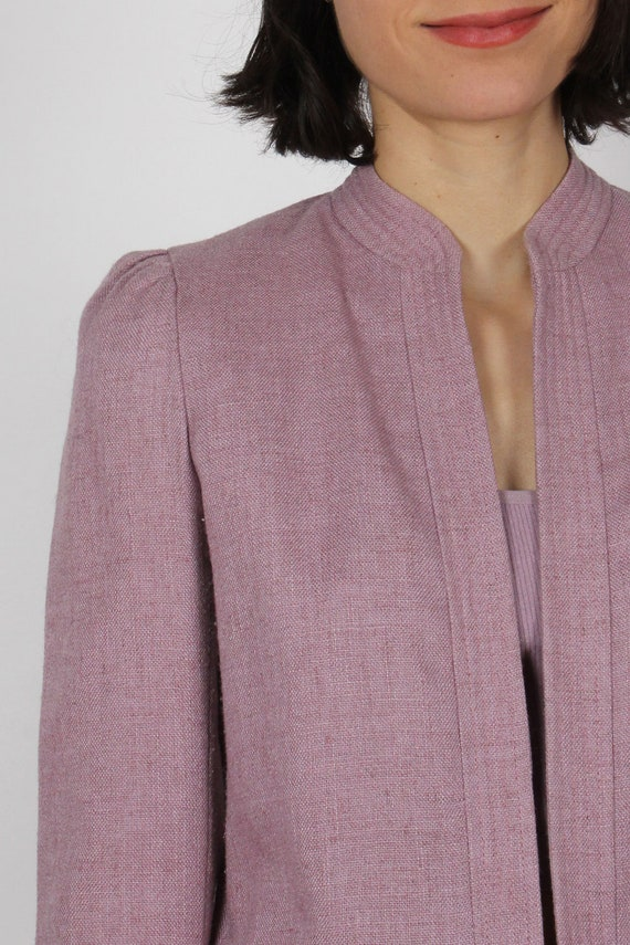 Heathered Mauve Crop Blazer XS • 80s Blazer • Vin… - image 5