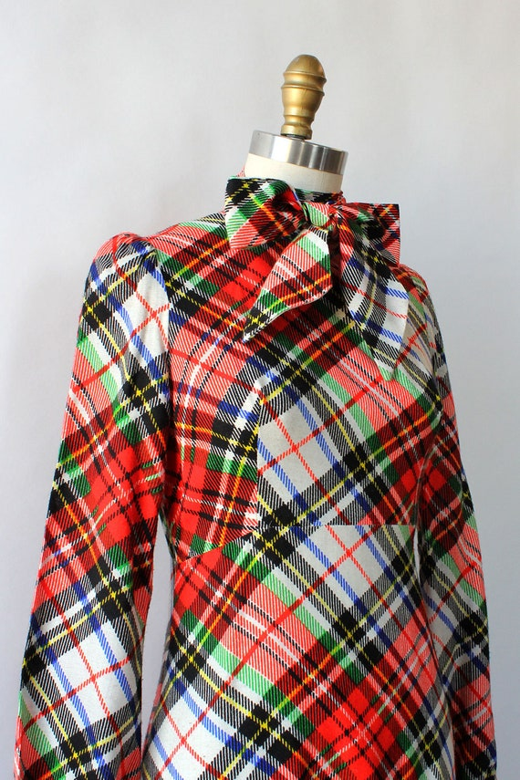 Clobber Of London Plaid Pussybow Dress XS • 70s D… - image 5