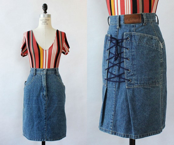 Byblos Lace-up Denim Skirt S • Vintage Denim Skirt