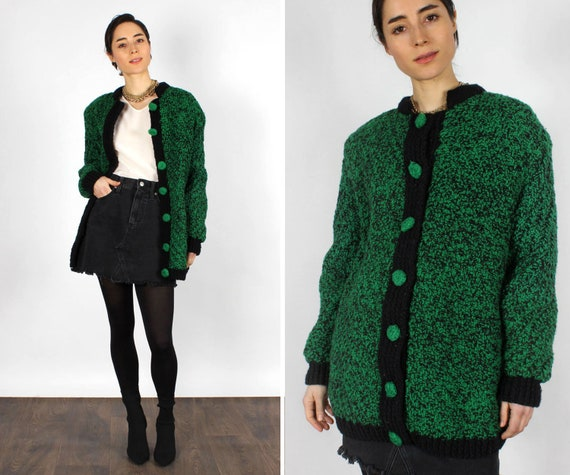 Snoopy Chunky Cardigan S-L • 70s Sweater • Green V