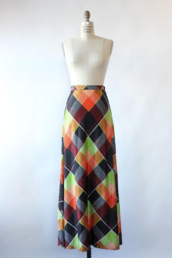 Electric Plaid Maxi Skirt M • 70s Maxi Skirt • Vi… - image 2