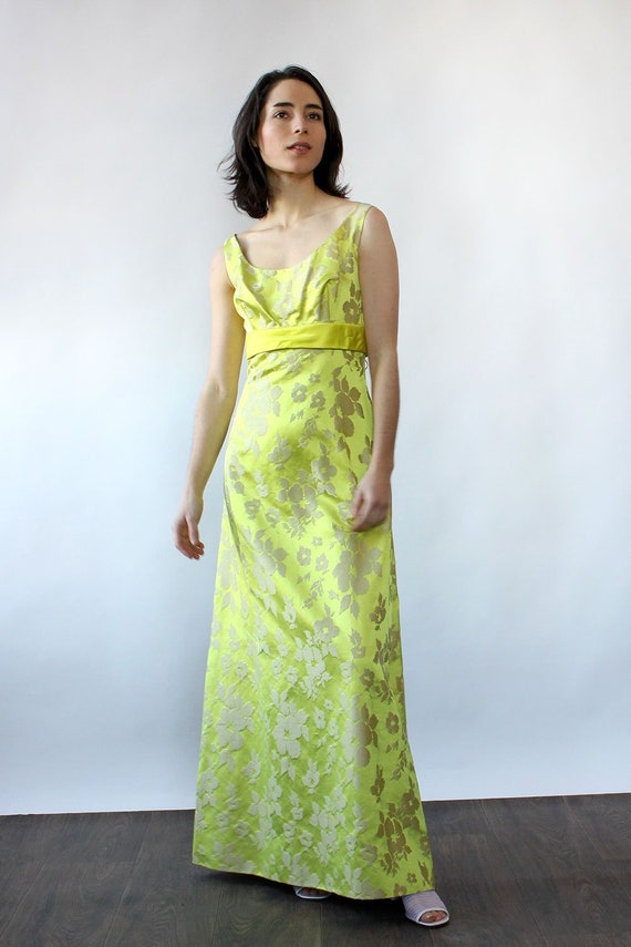 Chartreuse Silk Brocade Ensemble S-S/M • 60s Two … - image 2
