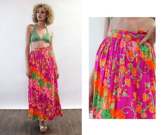 Janis Neon Maxi Skirt XS • 70s Skirt • Vintage Max